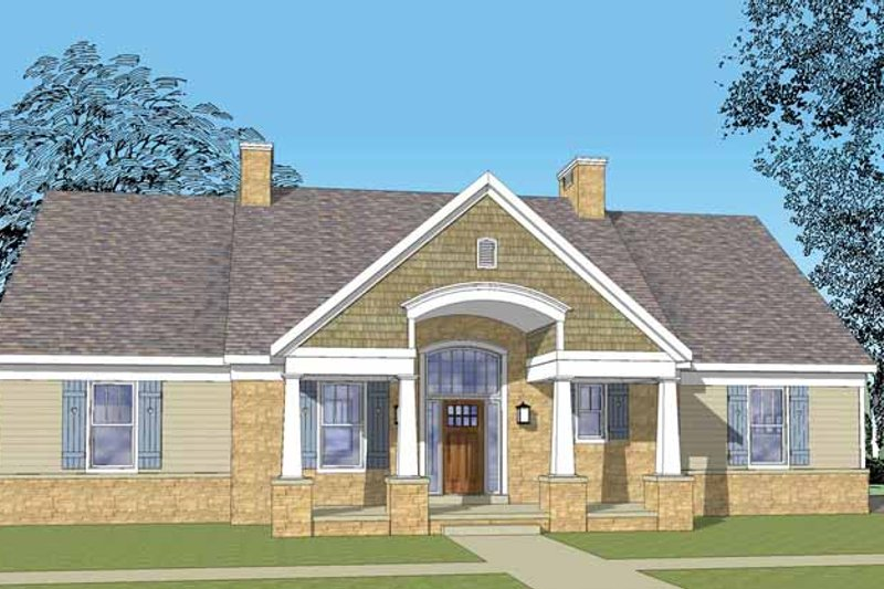 Dream House Plan - Craftsman Exterior - Front Elevation Plan #1029-62