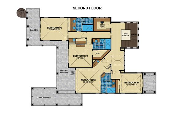 Mediterranean Floor Plan - Upper Floor Plan Plan #548-17