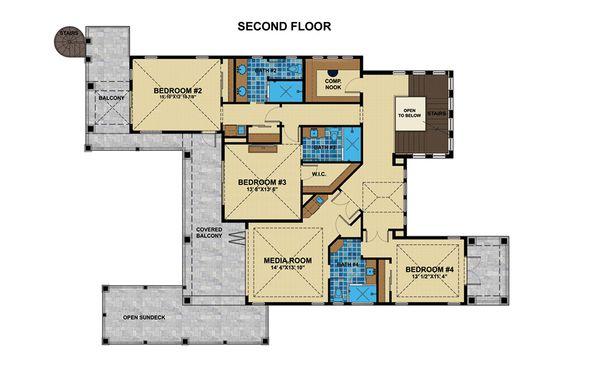 Mediterranean Floor Plan - Upper Floor Plan Plan #548-17