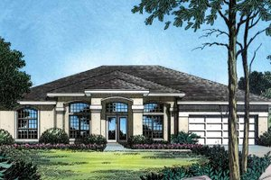 House Plan Design - Mediterranean Exterior - Front Elevation Plan #417-486