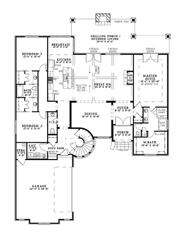 European Floor Plan - Main Floor Plan Plan #17-3366