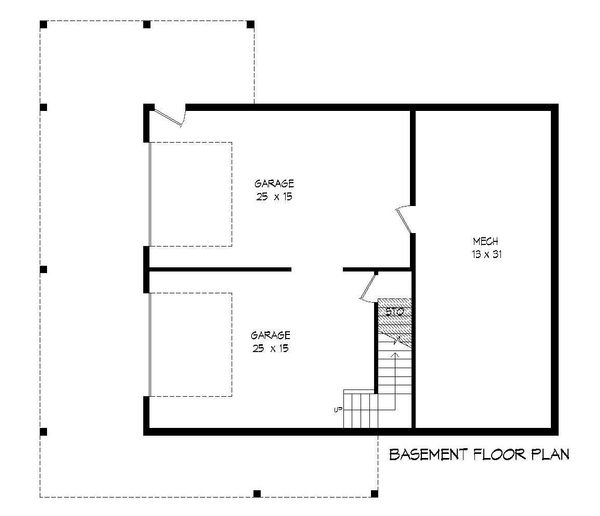 Country Floor Plan - Lower Floor Plan #932-204