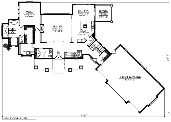 Craftsman Floor Plan - Main Floor Plan Plan #70-1288