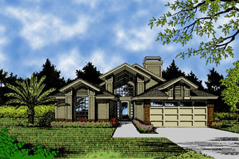 European Style House Plan - 3 Beds 2 Baths 1872 Sq/Ft Plan #417-162 Exterior - Front Elevation