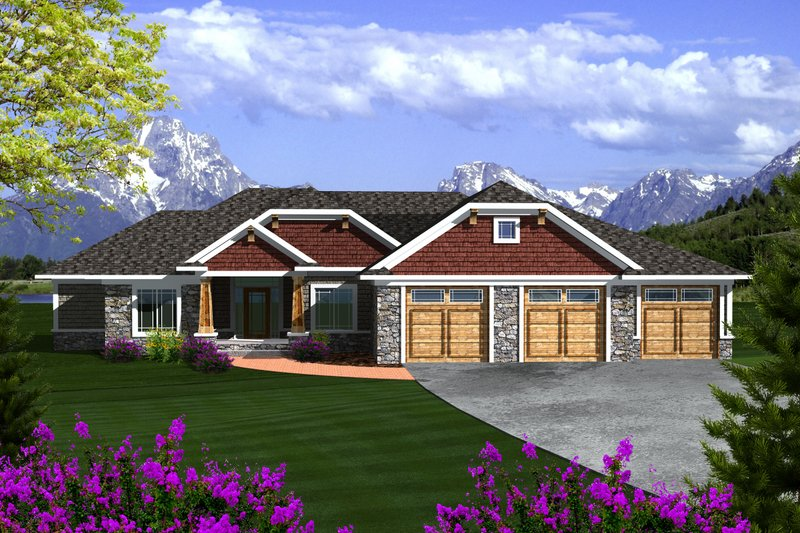 Ranch Exterior - Front Elevation Plan #70-1118