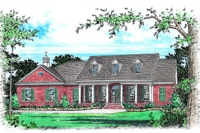 Southern Style House Plan - 3 Beds 2.5 Baths 2641 Sq/Ft Plan #15-252 Exterior - Front Elevation