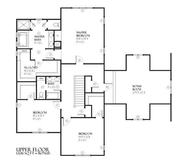 Farmhouse Floor Plan - Upper Floor Plan Plan #901-51
