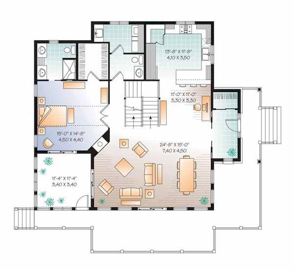European Floor Plan - Main Floor Plan Plan #23-2484