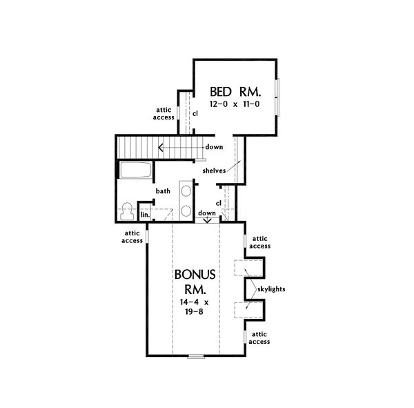 Architectural House Design - Cottage Floor Plan - Upper Floor Plan #929-1126