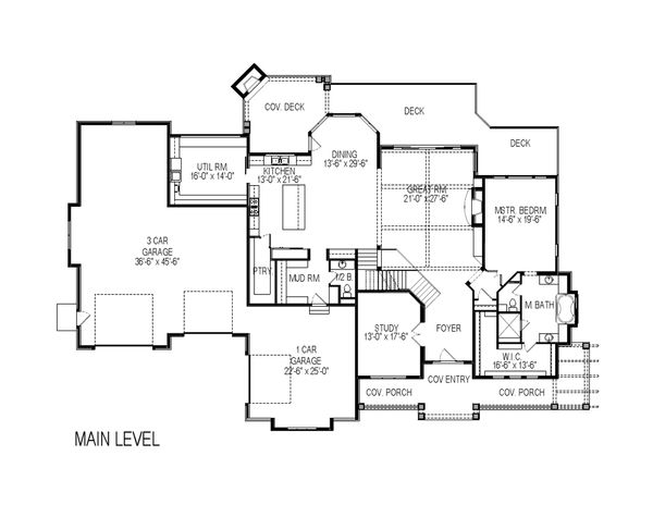 Architectural House Design - Craftsman Floor Plan - Main Floor Plan #920-59