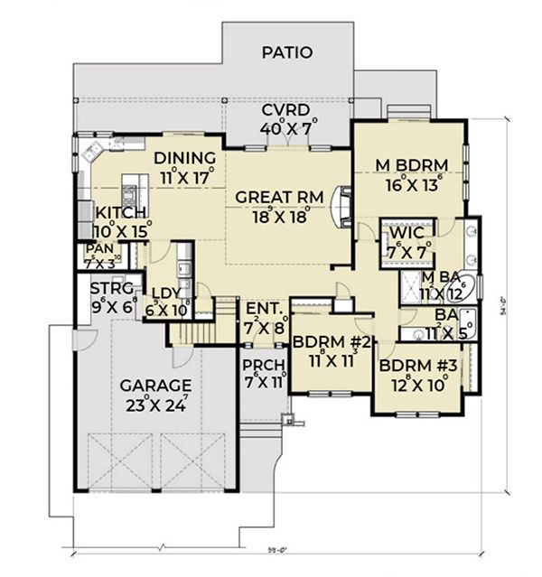 Southern Floor Plan - Main Floor Plan Plan #1070-8