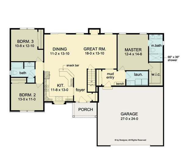 Ranch Floor Plan - Main Floor Plan Plan #1010-31