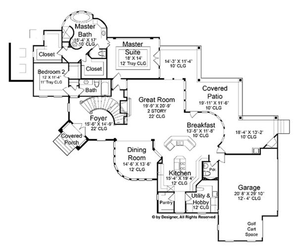 Architectural House Design - Mediterranean Floor Plan - Main Floor Plan #952-196