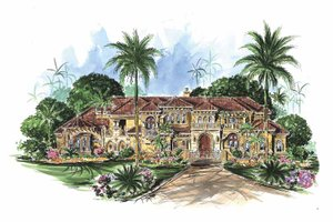 Dream House Plan - Mediterranean Exterior - Front Elevation Plan #1017-78