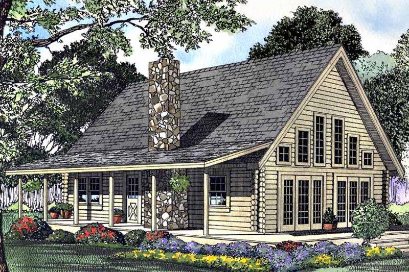 Log Exterior - Front Elevation Plan #17-3108 - Houseplans.com
