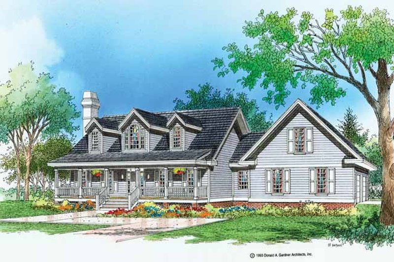 Country Exterior - Front Elevation Plan #929-194