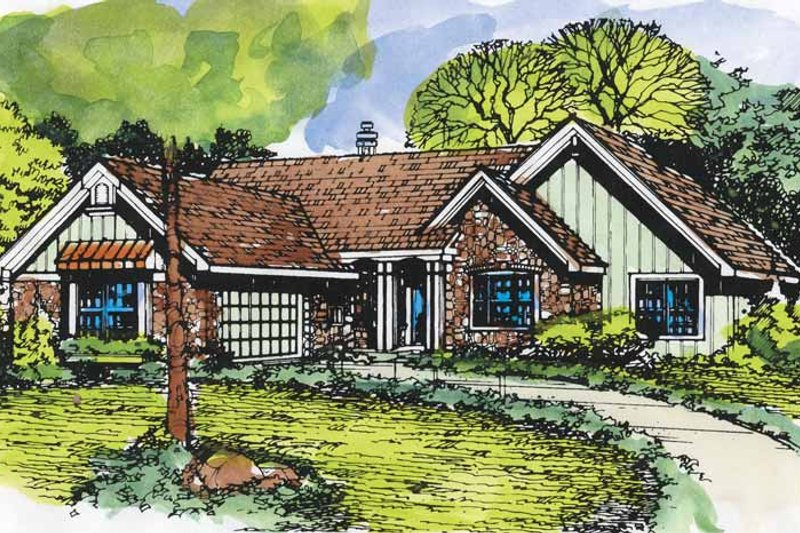 Ranch Exterior - Front Elevation Plan #320-950