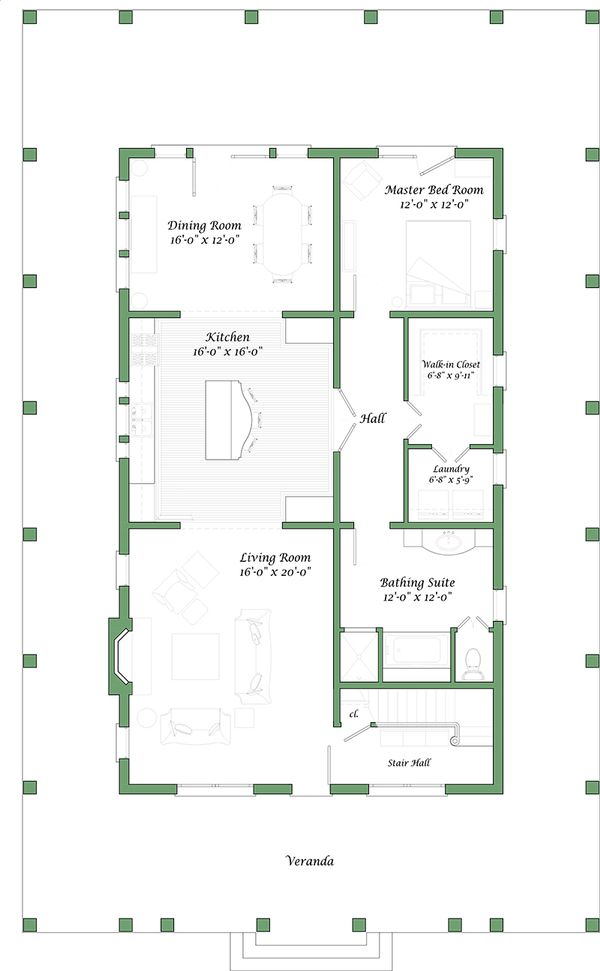 Colonial house plan, floor plan