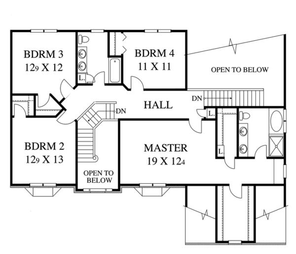Colonial Floor Plan - Upper Floor Plan Plan #1053-49