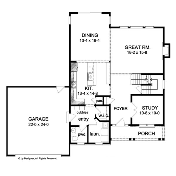 Colonial Floor Plan - Main Floor Plan Plan #1010-67