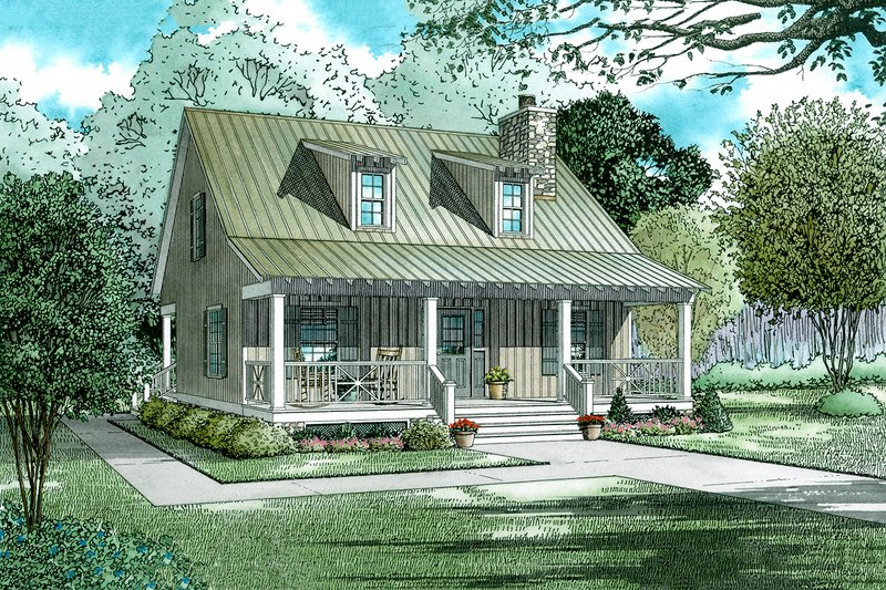 Farmhouse Style House Plan - 2 Beds 2 Baths 1400 Sq/Ft Plan #17-2019 Exterior - Front Elevation