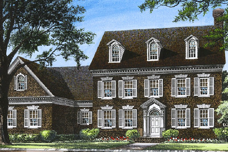 Colonial Style House Plan - 4 Beds 4 Baths 3664 Sq/Ft Plan #137-155 Exterior - Front Elevation