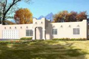 Adobe / Southwestern Style House Plan - 3 Beds 2 Baths 1452 Sq/Ft Plan #1-1256 Exterior - Front Elevation