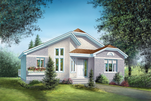 European Exterior - Front Elevation Plan #25-1099