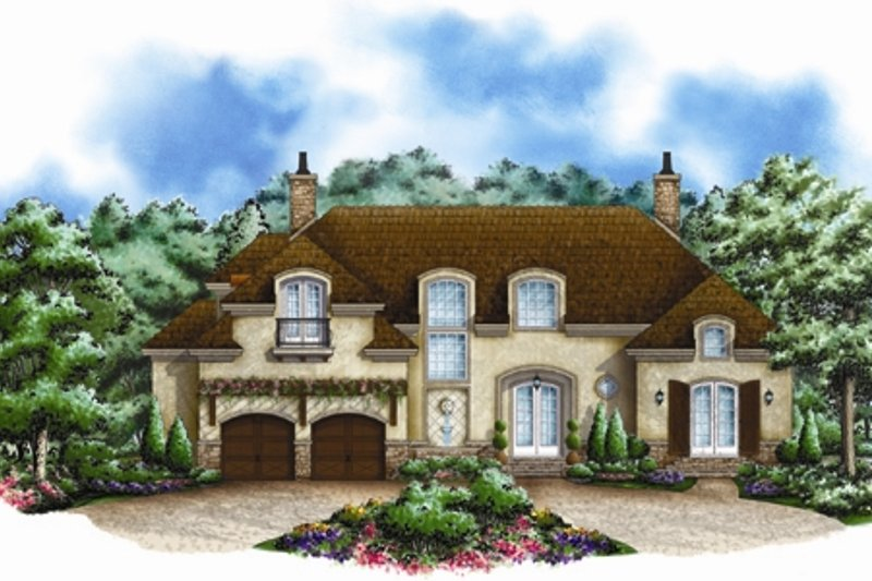 European Style House Plan - 4 Beds 4.5 Baths 4687 Sq/Ft Plan #27-449 Exterior - Front Elevation