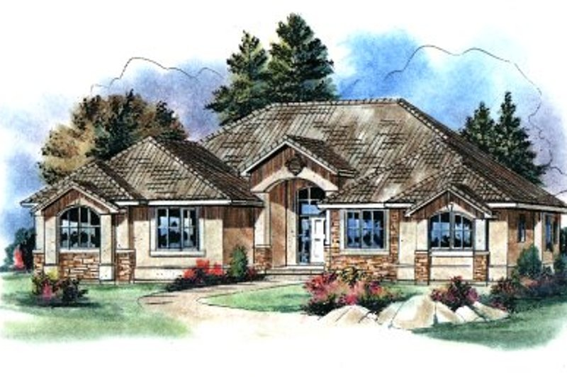 Mediterranean Style House Plan - 3 Beds 3 Baths 2424 Sq/Ft Plan #18-1060 Exterior - Front Elevation