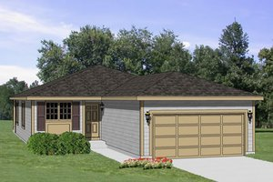Ranch Exterior - Front Elevation Plan #116-205