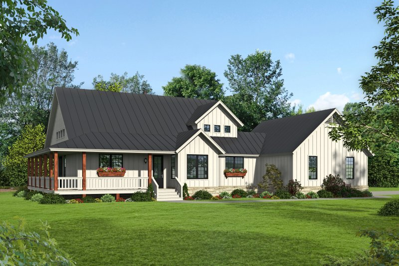 Architectural House Design - Country Exterior - Front Elevation Plan #932-68