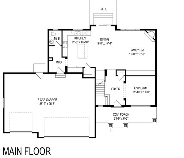 Traditional Floor Plan - Main Floor Plan Plan #920-114