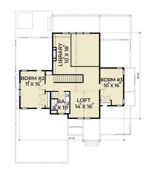 Farmhouse Floor Plan - Upper Floor Plan Plan #1070-3