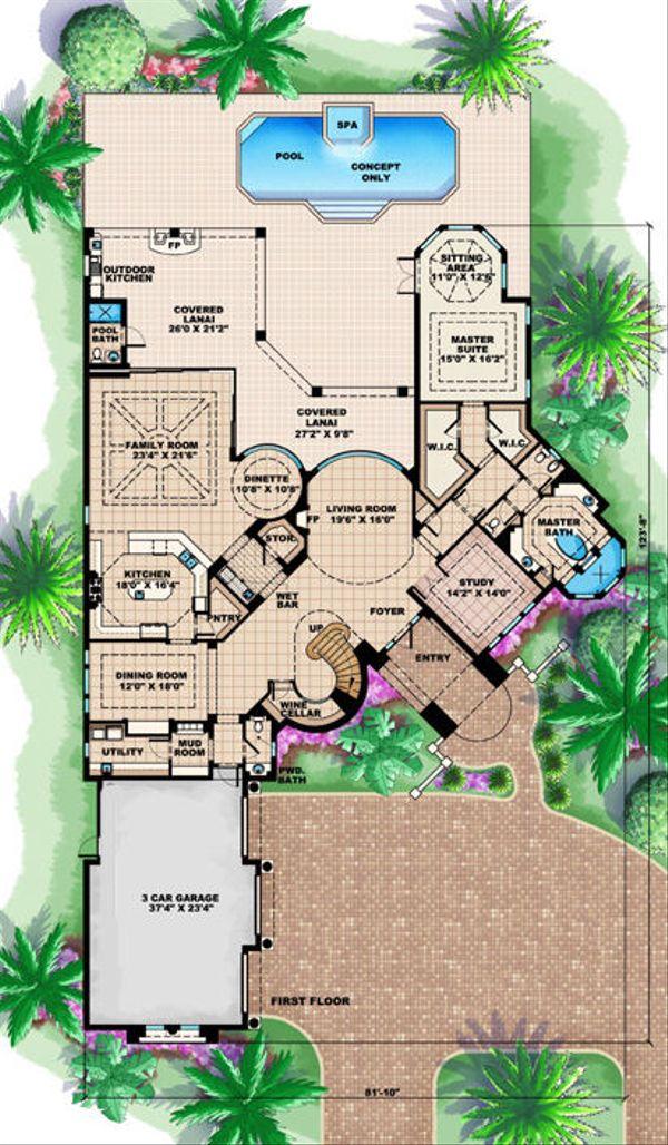 Mediterranean Floor Plan - Main Floor Plan Plan #27-390