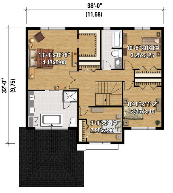 Contemporary Floor Plan - Upper Floor Plan Plan #25-4348