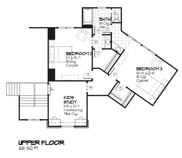 Country Floor Plan - Upper Floor Plan Plan #901-104