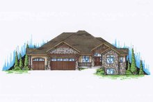 Log Exterior - Front Elevation Plan #945-134