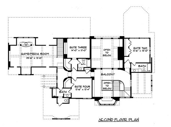 Tudor Floor Plan - Upper Floor Plan Plan #413-124
