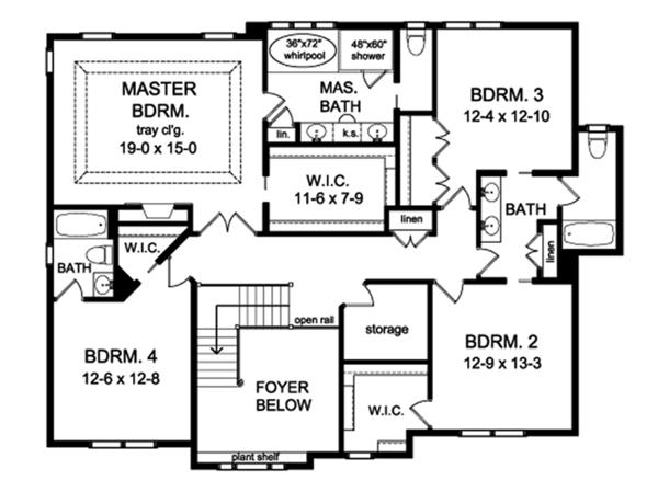 Colonial Floor Plan - Upper Floor Plan Plan #1010-176