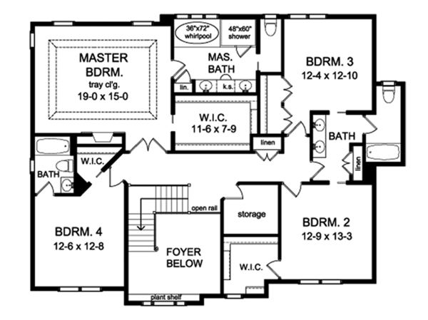 Colonial Floor Plan - Upper Floor Plan Plan #1010-176