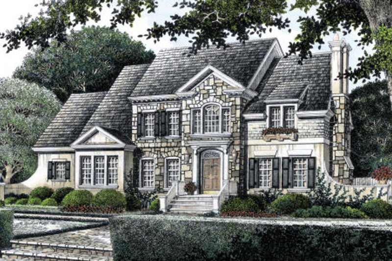 European Style House Plan - 5 Beds 4 Baths 3227 Sq/Ft Plan #429-17