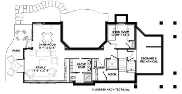 Craftsman Floor Plan - Lower Floor Plan #928-272