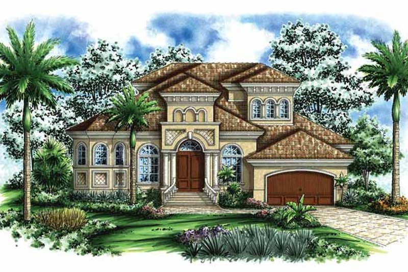 Mediterranean Exterior - Front Elevation Plan #1017-35