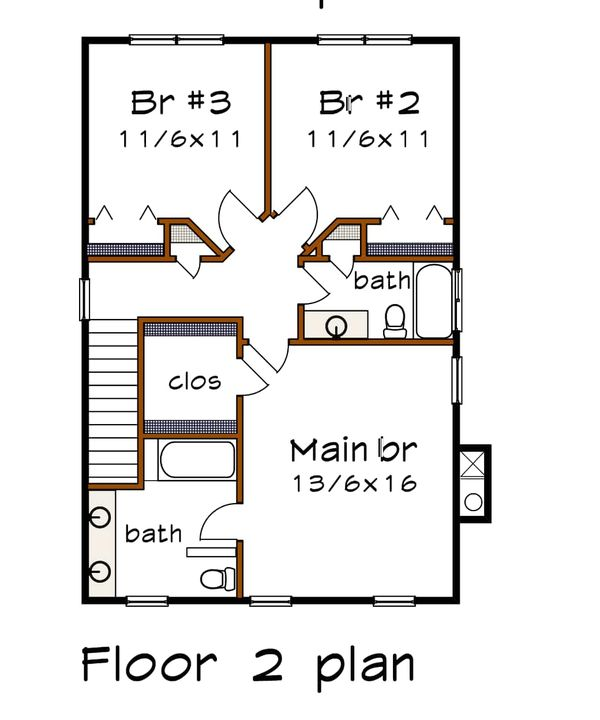 Craftsman Floor Plan - Upper Floor Plan #79-306