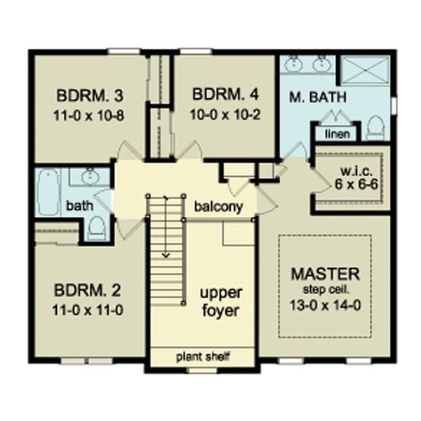 Colonial Floor Plan - Upper Floor Plan Plan #1010-35