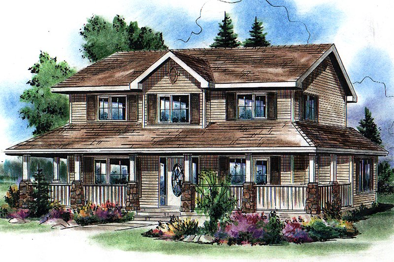 House Blueprint - Traditional Exterior - Front Elevation Plan #18-285