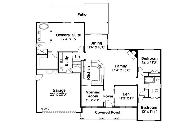 Country Floor Plan - Main Floor Plan Plan #124-1015