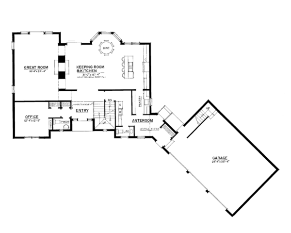 Craftsman Floor Plan - Main Floor Plan Plan #1016-109