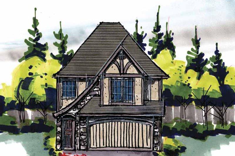 Tudor Exterior - Front Elevation Plan #509-210